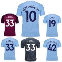 Wholesale Premier League Football Shirts - Top Thai quality 2017 Premier League football Shirt 2017 2018 DZEKO KUN AGUERO KOMPANY TOURE YAYA DE BRUYNE adult shirt SANE Soccer Jersey