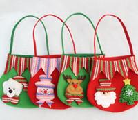bira yılbaşı hediyeleri toptan satış-2018 Noel Elma Çanta Şeker Hediyeler El Çantaları Çocuklar için Çanta Noel Dekorasyon Kardan Adam Bira Noel Baba Hediye El Çantası fro Çocuk