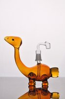 Wholesale Cheap Bubblers - Amber dinosaur cheap cute Hookahs bongs glass water pipes percolator for smoking heady recycler oil rigs bubblers perc with nail