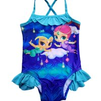 Wholesale Shining Swimwear - 2016 Retail cartoon Girls Kids Children Shimmer Shine Blue Swimsuit One Piece Swimwear Bather Sunbath Bikini swimming Costume