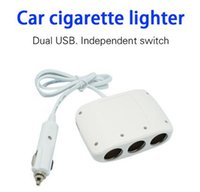 Wholesale Rechargeable Socket - 4IN1 Rechargeable Electronic 3 Way Car Cigarette Lighter Socket Splitter Charger Power Adapter +Dual USB Car Charger Interface