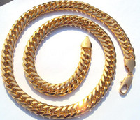 Wholesale Heavy Gold Chain Necklace Mens - FUNE HEAVY MENS 24K SOLID GOLD FINISH THICK MIAMI CUBAN LINK NECKLACE CHAIN