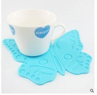 Wholesale Insulation Gel - Wholesale Table Mats mix Colors Cute Cartoon Butterfly silica gel pad Coasters Heat insulation pad Mats Free Shipping
