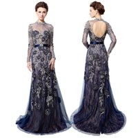 Wholesale hollow plus size special occasion dresses online - Navy Blue Long Sleeve Evening Dress Sheer High Neck Crystal Embroidery Backless Long Prom Dress Dubai Rode De Soiree LX014