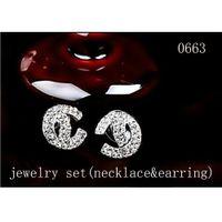 Wholesale Jewelry Sets Necklace Ear - Luxury Fashion Rhinestone Crystal Peark Necklace Earring Jewelry Set Brand Designer Pendant Necklace Ear Stud Drop Earring Set