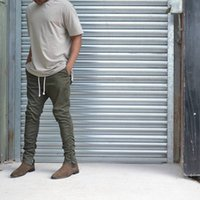 Wholesale Khaki Korean Pants - Wholesale-Khaki Black Green Korean Hip Hop Fashion Pants With Zippers Factory Connection Mens Urban Clothing Joggers Fear of god Men Pants