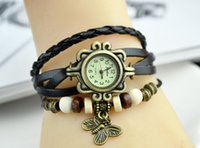 Wholesale Genuine Cow Leather Watch - Fashion hand-made leaf pendant retro charm Watch Genuine Cow leather wrist watches for women DHL free
