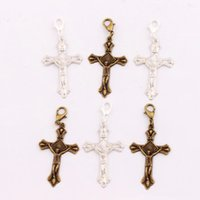 NR Sun Jesus Crucifixo Cross Clasp European Lobster Trigger 100pcs / lot 24x53mm Tibetano prata / Bronze Clip On Charm Beads C432