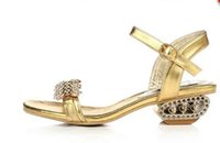 Wholesale Silver Rhinestone Low Chunky Heels - 2016 new summer fashion with Rhinestone sandals women feeling rough with 3 colors all-match shoes K2600