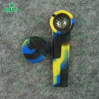 Wholesale Bent Over - Unbreakable flexible over 10 colros for chose silicone smoking hand piecemaker pipe with a removable metal dish DHL free S-03