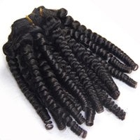 Wholesale Double Wefted Hair - Afro Spring Curly Brazilian Hair Weaves 4pcs Lot Human Hair Extension Double Wefted Spring Curl African Curl Hair Tangle Free