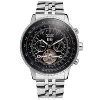 jaragar tourbillon venda por atacado-Relógios mecânicos automáticos homens de luxo automáticas TOURBILLON relógio inoxidável mens mecânica esporte relógios JARAGAR Relógios Atacado
