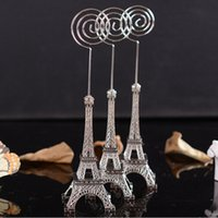 Wholesale Eiffel Tower Favor Boxes - DHL free shipping 100pcs wedding gift 16.5cm Paris Eiffel Tower Brozen Place Name photo Business Card Holder message board clip
