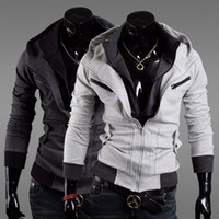 Wholesale desmond miles jacket - Wholesale-New fashion Assassin's Creed 3 Desmond Miles Hoodie Jacket Costume Cosplay Hoody Coat Black Dark Gay Light Gray