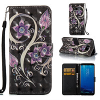 Wholesale Card Case Metal Flip - For iPhone 8 Hot!! Peacock Flower Painted Pattern PU Leather Flip Stand Cover Case For Samsung Galaxy S8 S8 Plus S7 S7 Edge