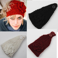 Wholesale Hair Flowers For Adults - Fashion Autumn Winter Woolen Headband With Flower Knitted Crochet Earmuff Warm Turban Hair Band Headwrap For Women Adult
