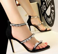 Wholesale Wholesale Fashionable Heels - New fashion Fashionable high-heeled shoes women shoes fine heel suede metal chain diamond word belt sandals