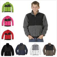 Wholesale yellow down jacket kids - Hot winter North kids Soft Fleece Osito Hooded Jackets Outdoor Casual Sports Warm Windproof kids Down Coats Kids SoftShell Suits