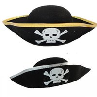 Wholesale Caribbean Party Games - Popular Halloween Hats Pirate Patch Game Captain Dress Up Pirate Performance Hats Caribbean Pirate Captain's cap