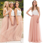 Wholesale Blue Two Tone Dress - Two Tone Country Wedding Boho Bridesmaid Dresses Blush Tulle V Neck 2016 Cheap Long Party Prom Gowns Plus Size Maid of Honor Dresses