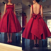 Wholesale Tea Length Lavender Ball Gown - Dark Red Tea Length Cocktail Dresses Little Red Square Neck Sexy Backless Formal Party Gowns Vintage Dresses With Bow Sash Under