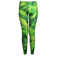 Wholesale Dive Breathing - Women Fashion Green Leaf Galaxy Leggings Cyan Diving Pants Printed Sky Space Stretchy Breathe Christmas Warm Jeggings Slim Tights