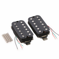 Wholesale Base Guitars - Black Humbucker Guitar Pickup Set Neck Bridge Alnico 5 Magnet Copper-Nickel Base