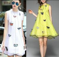 vestido de novia de organza amarillo al por mayor-Nuevas mujeres de una pieza vestido casual de una línea bordado mariposa dulce blanco vestido formal amarillo organza vestido sin mangas fiesta boda citas