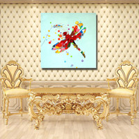 Wholesale Modern Abstract Acrylic Painting - Modern Abstract Acrylic Dragonfly Painting for Living Room Wall Modern Pictures on Canvas Hand Painted Animal Oil Painting No Framed