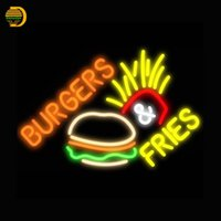 All'ingrosso- Burger Fries Neon Sign Pannelli Neon Bulbs Arcade neon segno Glass Tube Handcrafted Light Custom LOGO personalizzato custom VD19x15
