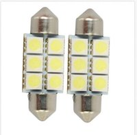 Wholesale acura blue - 50PC 6SMD 36mm 12V C5W LED Bulb For 5050 LED Car License Plate Cool white