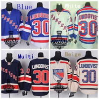 Wholesale White Ice Cream Cups - 2014 Stanley Cup New York Rangers Hockey Jerseys #30 Henrik Lundqvist Jersey Royal Blue White Navy Cream Black Stitched Jerseys