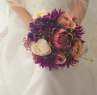 altın ipek yaprakları toptan satış-Vintage Düğün Çiçekleri Gelin Buketleri Buket de mariage Benzersiz Yeni Varış Zarif Bruidsboeket Düğün Aksesuarları Retro