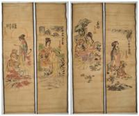 schönheit tier malerei großhandel-Chinesische Malerei Scroll Schönheit und Tier Tang Bohu 4 Schriftrollen