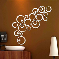 Wholesale Wall Stickers Ring - Silver Gold Cricle Wall Sticker Happy Mirror Ring Real Modern Acrylic Mirror 3D Wall Stickers Promotion Home Decoration Background Decor