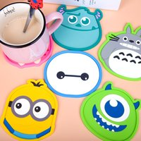Atacado- 1pcs Cute Anime Silicone Coffee Placemat Cartoon Drink Coaster Cup Glass Beverage Holder Pad Mat MF76