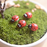 Wholesale Folk Art Lady - artificial mini lady bugs insects beatle fairy garden miniatures moss terrarium decor resin crafts bonsai home decor