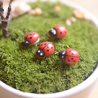 ingrosso miniature del giardino-mini coccinelle artificiali insetti beatle fairy garden miniature muschio terrario arredamento resina artigianato bonsai home decor