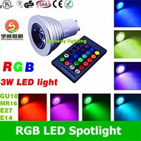 Wholesale Led Mr16 Dc 3w - E27 GU10 MR16 LED spot lights 3W RGB 16 Color Changing LED Bulbs AC DC 12V + IR Remote Control