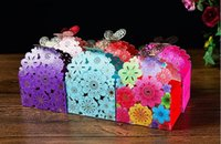 Wholesale Wedding Paper Butterflies - 2016 laser cut butterfly Floral favor bags paper chocolate candy boxes baby shower favors gifts Wedding Candy Holder Wedding Favor Holder