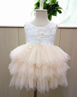 Wholesale Girl Dress Beige - Girls party dress summer new children beaded lace vest tulle tutu dress girls back V-neck tiered tulle cake dress kids princess dressesA9042