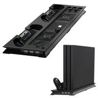 controlador ps4 más frío al por mayor-Multifuncional PS4 Pro Soporte vertical Ventilador de enfriamiento dual Soporte vertical con 2 estaciones de carga y carga para Sony Playstation Pro 4