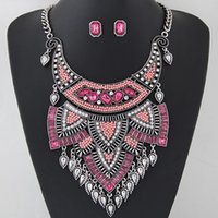 Wholesale Pink Crystal Bib - Fashion Luxury Brand Jewelry Sets Statement Resin Crystal Choker Bib Chain Necklace Earrings Sets Jewelry Women Accessories