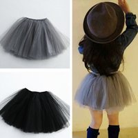 Wholesale Summer Toddler Girls Pettiskirts - 2016 Top quality Girls gray & black Pettiskirts Baby Girl TUTU Skirts Toddler child Ball Gown Party skirt 4 layers kids clothes