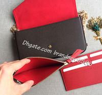 kadının debriyajı toptan satış-Ücretsiz Kargo 3 Parça ile kadın Debriyaj Cüzdan fermuar Cep Kart Sahibinin Pochette Mini Zincir Çanta 64065 61276