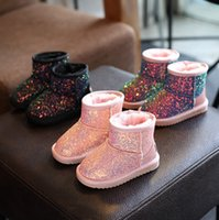 Wholesale Wholesale Flats Shoes For Kids - Children snow booties glitter felt sequins thick bottom boots for kids pink black colorful warm winter boots girl princess shoes R0124