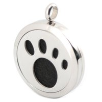 Pendant Necklaces South American Women's 30mm Dog Paw Aromatherapy Essential Oil surgical Stainless Steel Perfume Diffuser Locket Necklace with chain and pads