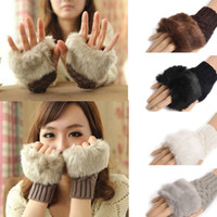 перчатки для зимы оптовых-Wool Mixed Artificial Fur Ladies Fingerless Gloves Knitted Crochet Winter Gloves Warmer Evening Gloves 60pairs OOA7134