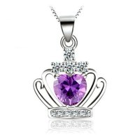 Wholesale Wholesale Beautiful Nice - Very Beautiful Princess Crown Necklaces 925 Sterling Silver Jewelry Trendy Fashion Women Pendants Necklaces Party Nice Gift 6Pcs Lot