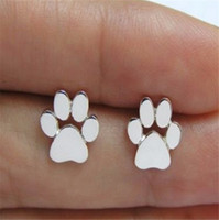 Wholesale Rhinestone Paw Print - 925 Silver Plated Dog Paw Print Earrings Dog Cat Lovers Jewelry